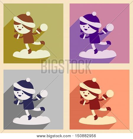 Set of flat icons with long shadow girl playing snowballs