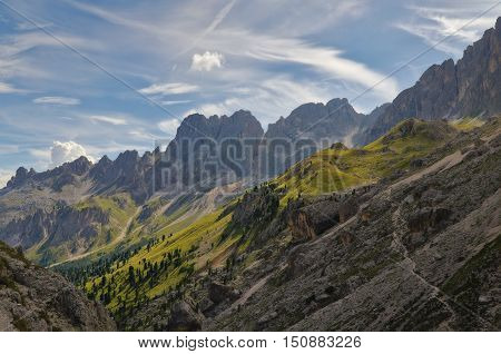 Panorama of italian Dolomites valley at dawn