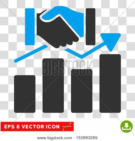 Vector Acquisition Graph EPS vector icon. Illustration style is flat iconic bicolor blue and gray symbol on a transparent background.