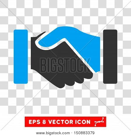 Vector Acquisition Handshake EPS vector pictograph. Illustration style is flat iconic bicolor blue and gray symbol on a transparent background.