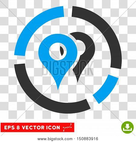 Vector Geo Diagram EPS vector pictograph. Illustration style is flat iconic bicolor blue and gray symbol on a transparent background.