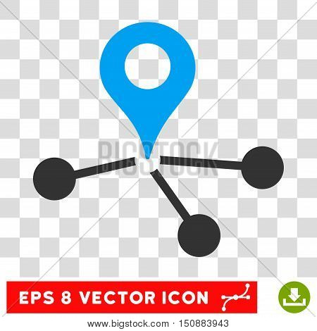 Vector Geo Network EPS vector pictograph. Illustration style is flat iconic bicolor blue and gray symbol on a transparent background.