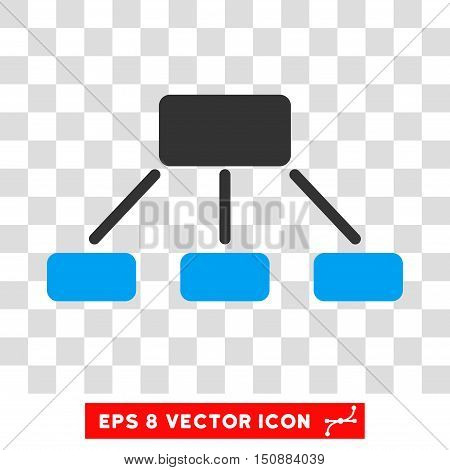 Vector Hierarchy EPS vector pictogram. Illustration style is flat iconic bicolor blue and gray symbol on a transparent background.