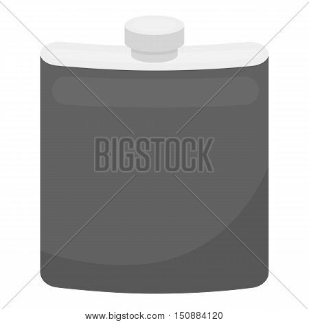 Hip flask icon in monochrome style isolated on white background. Hunting symbol vector illustration.