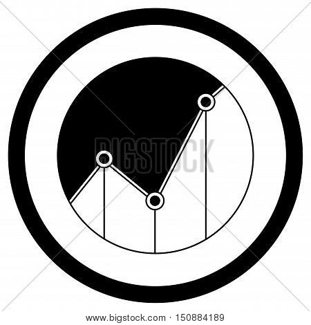 Statistics graph icon black white style. Statistics icon infographics data chart and graphic analytics and static. Vector illustration