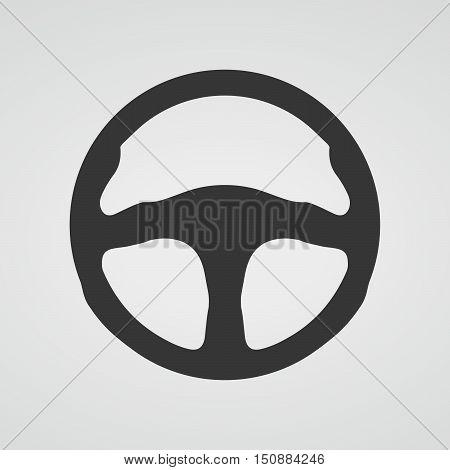 Steering wheel icon isolated. Vector illustration. Black car steering wheel symbol.