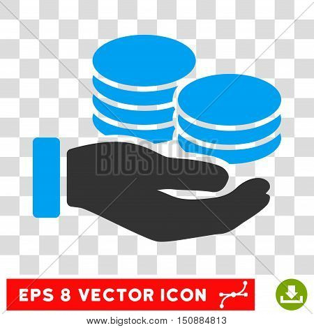 Vector Salary EPS vector pictograph. Illustration style is flat iconic bicolor blue and gray symbol on a transparent background.