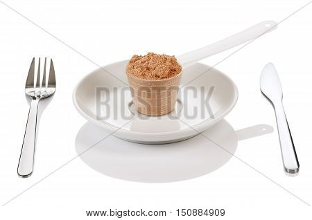 Product photograph of scoop of whey protein with visible texture and mirror reflection