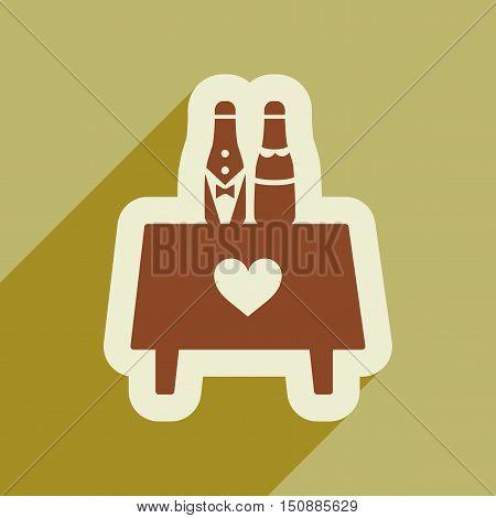 Flat web icon with long shadow wedding bottles