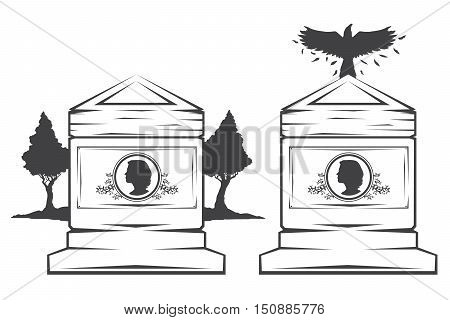 Vector isolated image of contour the grave gravestone monument depicting the profile of woman. Headstone for print and web design funeral services. Burial and funeral . Crow, the raven.Pines tree