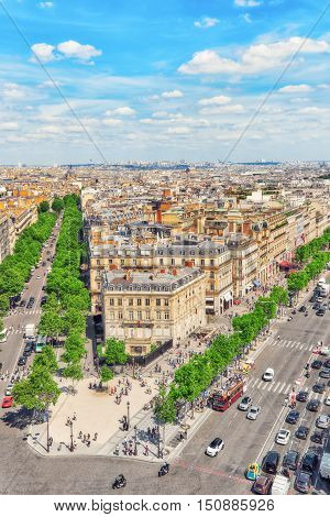 Paris, France - July 06, 2016 : Beautiful Panoramic View Of Paris From The Roof Of The Triumphal Arc