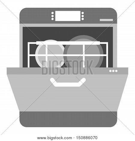 Dishwasher icon in monochrome style isolated on white background. Kitchen symbol vector illustration.