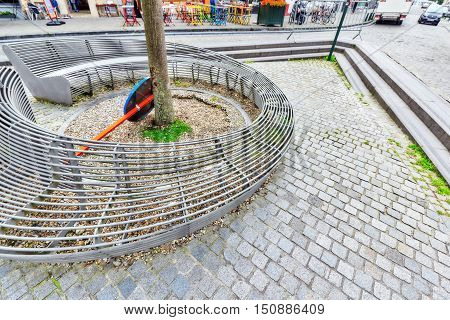 Brussels, Belgium- July 07, 2016 : Modern Bench In Cozy European Cities - Brussels, Belgium And The
