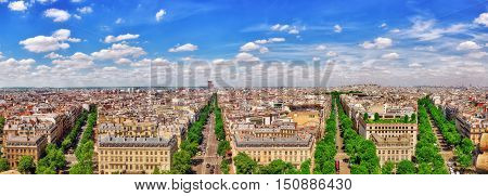Beautiful Panoramic View Of Paris From The Roof Of The Triumphal Arch. France.