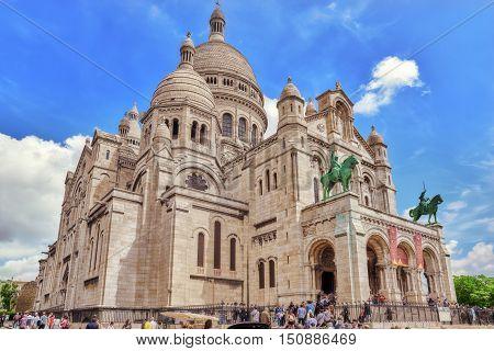 Paris, France - July 04, 2016 : Sacred Heart (also Known A Basilique Du Sacre Coeur) Is One Of The M