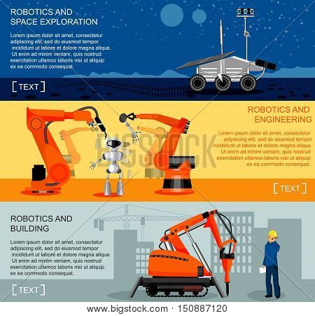 Robotics and automation horizontal banners set with assembly line and robotic loaders, rover robot, construction robotics symbols flat isolated vector illustration