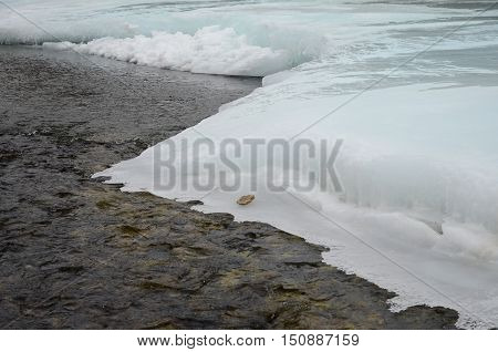 The Melting Of Ice On The River In The Beginning Of Spring. Irkutsk Region