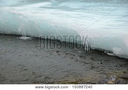 The melting of ice on the river in the beginning of spring. Irkutsk Region, Russia