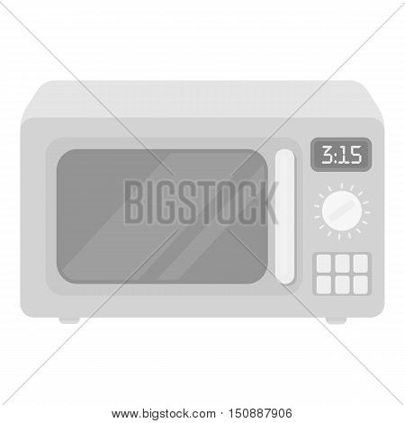 Microwave icon in monochrome style isolated on white background. Household appliance symbol vector illustration.