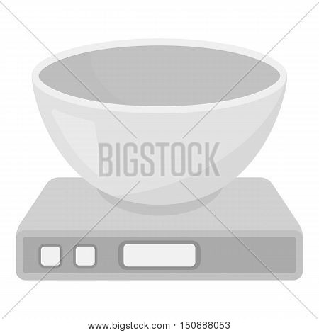 Kitchen scale icon in monochrome style isolated on white background. Household appliance symbol vector illustration.