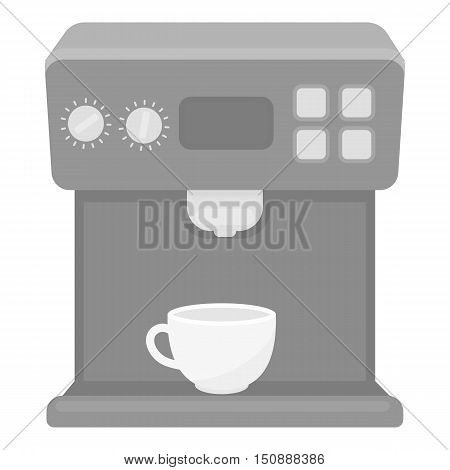 Coffeemaker icon in monochrome style isolated on white background. Household appliance symbol vector illustration.