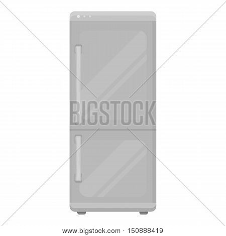 Refrigerator icon in monochrome style isolated on white background. Household appliance symbol vector illustration.