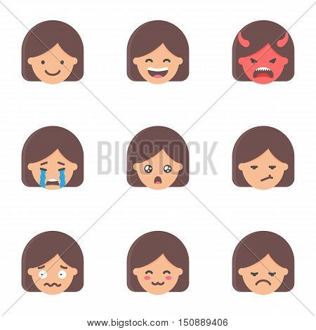 Set of emoji, stickers. Female characters. vector illustration
