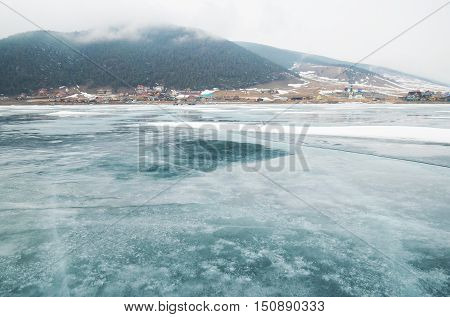 Big Goloustnaya Village. View from the lake ice