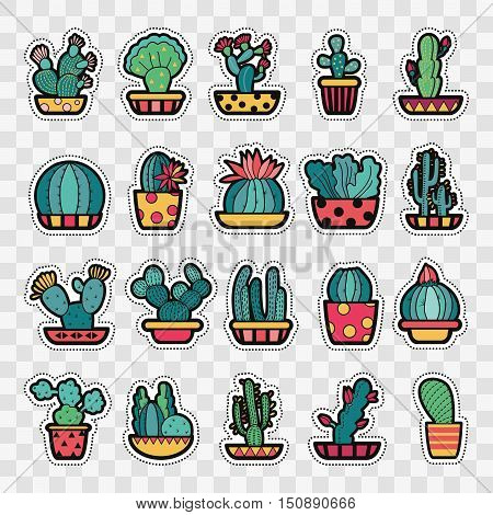 Set of Fashion patch badges with cute succulents and cactus in pot. Perfect design for stickers pins embroidery patches. Vector illustration.