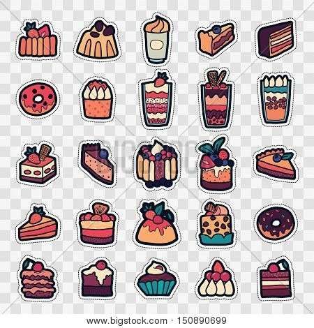 Set of Fashion patch badges with cute sweets - ice cream pudding donut cake cheesecake. Perfect design for stickers pins embroidery patches. Vector illustration.