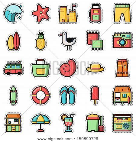 Set of Fashion patch badges with surf and summer elements. Perfect design for stickers pins embroidery patches. Vector illustration isolated on white background.
