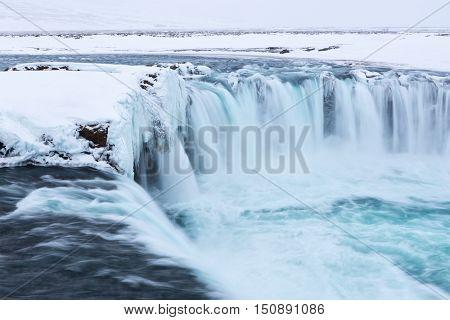Godafoss waterfall in winter, Iceland