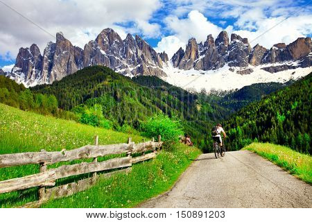 impressive Dolomites  - Cycling in mountains, North Italy