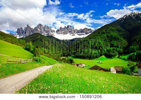 Dolomites mountains - Alpine countryside. North Italy
