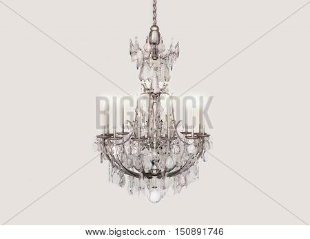 Chandelier crystal candles celebration isolated on a gray background. 3D illustration