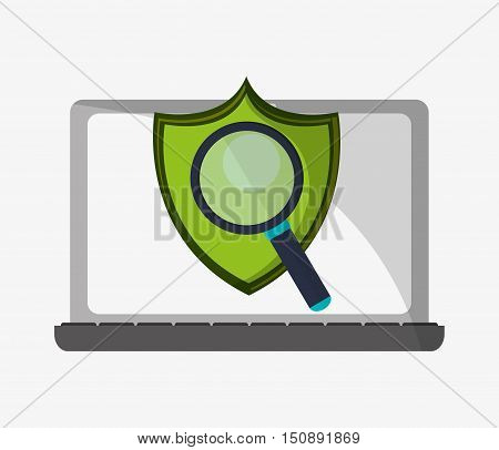 Laptop shield and lupe icon. Security system warning and protection theme. Colorful design. Vector illustration