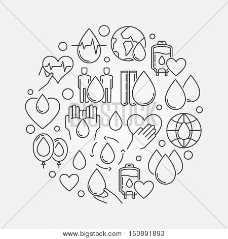 Blood donation circular sign. Vector thin line donate blood concept illustration or poster
