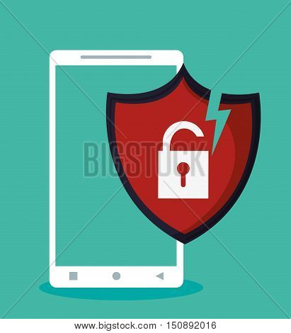 Smartphone and padlock icon. Security system warning and protection theme. Colorful design. Vector illustration