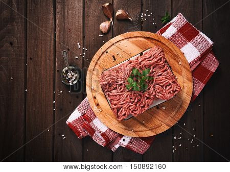 Minced Meat On A Wooden Table