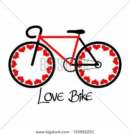 Love bike illustration, vintage bike flat design.