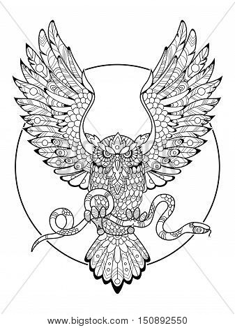 Owl bird with snake coloring book for adults vector illustration. Tattoo stencil. Zentangle style. Black and white lines. Lace pattern