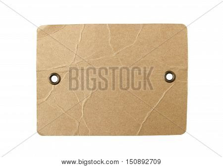 Blank Brown Paper Tag Eyelet isolated on white background Clipping Paths