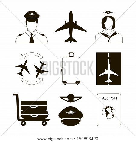 Pilot and stewardess at work during the flight and at the airport flat icons collection abstract vector illustration