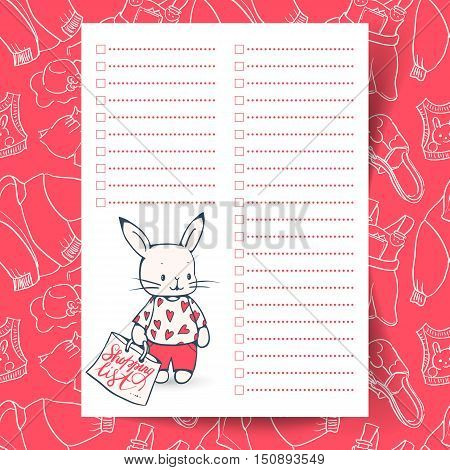 Shopping list with funny Bunny. The background contains seamless pattern with clothes. Hand-drawn illustration. Vector.