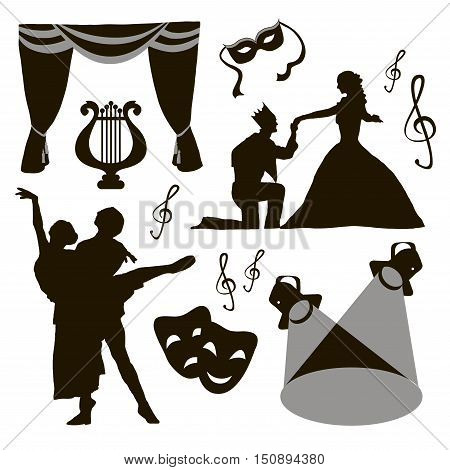 Set of theatre acting performance icons, drama, comedy, curtain and mask, tragedy. Vector illustration