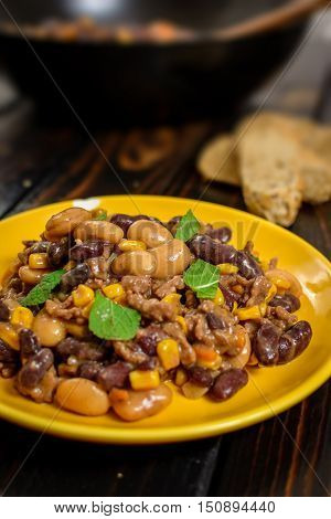 Traditional cuisine chili con carne with beef meat