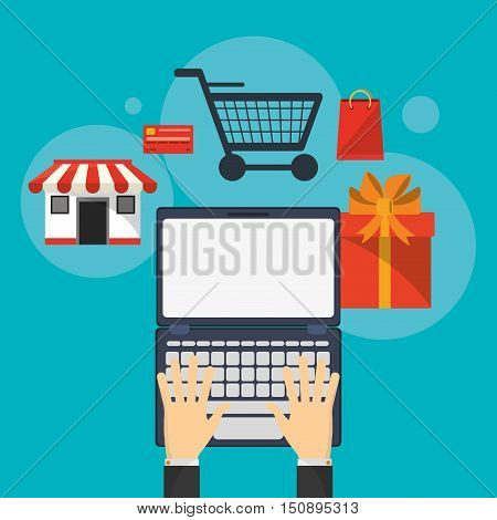 Laptop cart gift and store icon. Shopping online ecommerce and media theme. Colorful design. Vector illustration