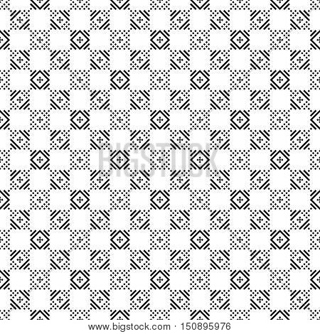 Checkered seamless pattern. Classic abstract geometric background. Infinitely repeating geometrical texture consisting of rhombuses lines. Vector element of graphical design