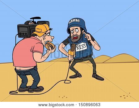 war journalist with a microphone and cameraman