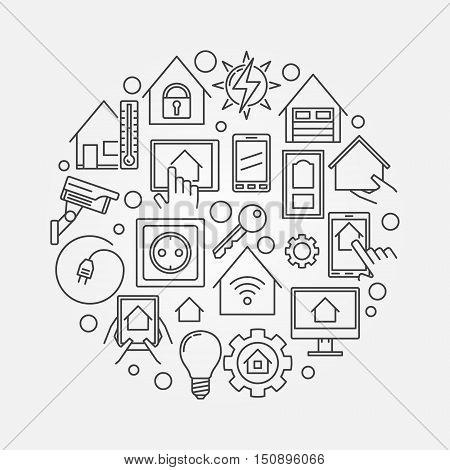Smart home circular line illustration. Vector concept smart house technology system circle symbol in outline style